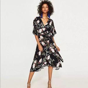 Zara crane print midi wrap dress